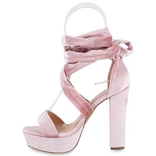 Damen Plateau Sandaletten | Peeptoes Party Schuhe | Pumps Blockabsatz High Heels |Satin Samt Strass Fransen Rosa Band
