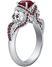 Silvernshine 1.52Ct Red Garnet CZ Diamond Weddding&Engagement Two Skull Ring 14K White Gold Plated