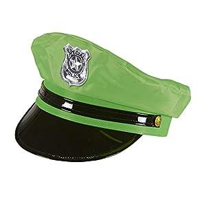 WIDMANN wdm01090?Disfraz para adultos sombrero policía verde fluorescente, talla única