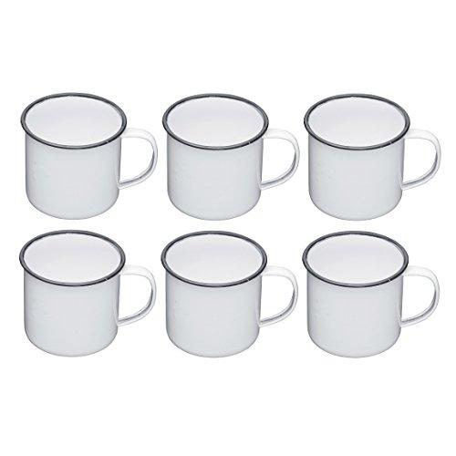 Kitchen Craft Living Nostalgia en émail Tasses, 550 ML (1 PT) – Blanc/Gris (Lot de 6),