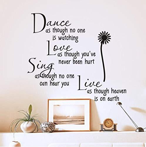 Dwqlx Tanzen, Als Ob Niemand Liebe Zitat Wandtattoos Abnehmbare Pvc-Wandaufkleber Wohnkultur Schlafzimmer Diy Wandkunst Zuschaut (Für Zitate Ihre Liebe Halloween)