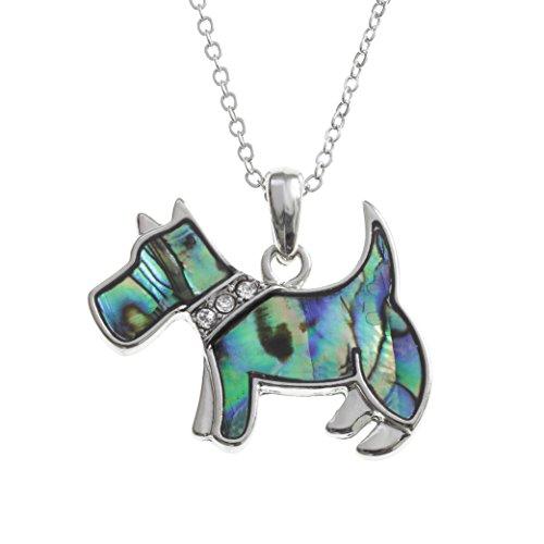 Kiara Schmuck Scottie Hund Anhänger Halskette mit natürlichen grünlichen blau intarsiert Paua Abalone Shell mit Glas Steinen Rundum Halsband auf 45,7 cm Trace Kette. Rhodiniert, Anlauf Geschützt.