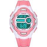 Yadelai Kinder Digitaluhr,Jungen Mädchen 50M Wasserdichte Sport Multifunktions Armbanduhr für Kinder mit Alarm