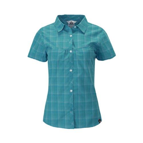 Salomon Damen Checks Shirt Boss Blue/Organic Green/White