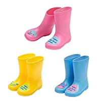 Deylaying Children Kids Fashion Non-Slip Rainboots Boys Girls Slip-On Snow Boots Rubber Rain Water Shoes Winter Boots