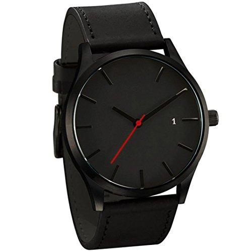 Fasching Karneval Uhren Dellin Populäre Low-Key Minimalist Connotation Leder Herren Quarz Armbanduhr (A Schwarz)