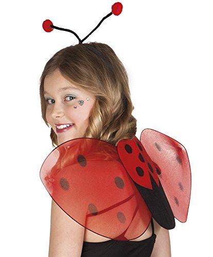 Confettery - Marienkäfer Flügel Schmetterling Kostüm Set Fühler Haarreif, (Erwachsene Flügel Marienkäfer)