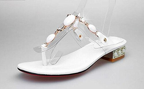 SHINIK Damen Open Toe Sandalen 2017 Summer New Flip Flops Folder Toe Transparente Film National Style Gem Bequeme Ferse Cool Slippers White