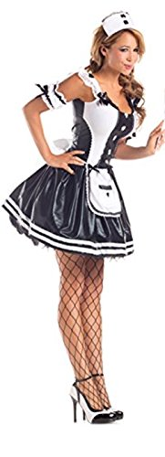 harrowandsmith schwarz French Maid Kostüm Sexy Schwarz und Weiß Figurbetont Cosplay Halloween Erwachsene, UK 8–10