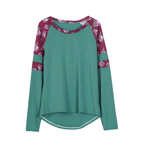 ❤️• •❤️Blusen Shirt Tops Luckycat 2018 Neu Heißer Verkauf Mode Damen Shirts Blusen Tops Frauen Blumenspleiß-Druck-Lange Hülsen Rundhalsausschnitt Pullover Bluse Übersteigt T-Shirt (Grün, XXXL) (Flanell Ärmel Kurze)