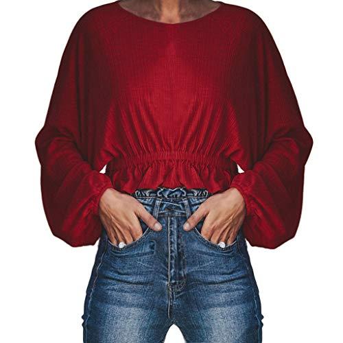 JMETRIC Lässige Mode für Frauen einfarbig Rundhals Ausschnitt Taille Langarm Top