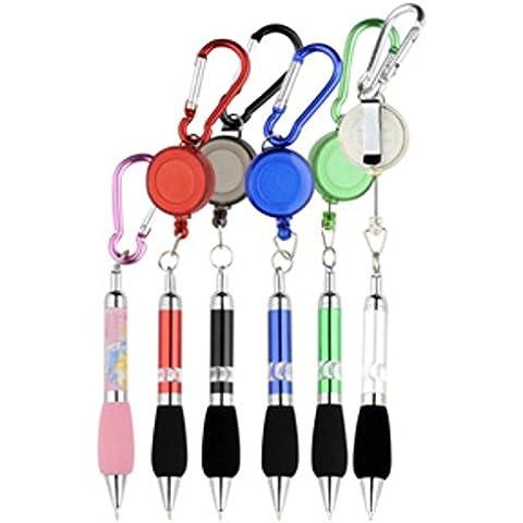 5pcs retrattile Badge Reel penna clip da cintura e moschettone --- Inchiostro casuale (Blacklight Pen)