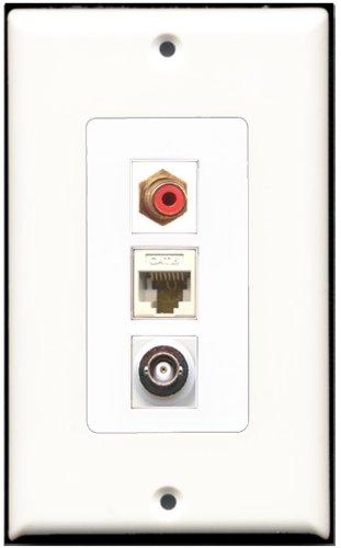 RiteAV-1Port RCA rot und 1Port BNC und 1Port Cat6Ethernet White Decora Wall Plate Decora Decora Insert Plate