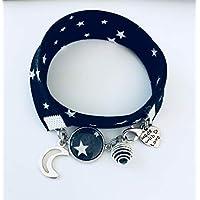 Bracciale profumato Liberty bianco e nero con pendente luna, gioiello Liberty, idea regalo, bracciale profumato, gioiello, bracciale a stella, gioielli regali, regalo femminile
