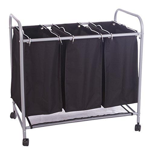 ZNL Wäschesortierer Wäschekorb Wäschebox Wäschewagen Wäschesammler 3 fächer Schwarz WY01S