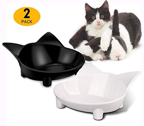 Xiruisz Futternapf Katzennäpfe, 2 Stück rutschfeste Futterschüssel, Katzen Fressnapf Set, Wasser Fütterung Schüssel für Katze (Schwarz-Weiß)