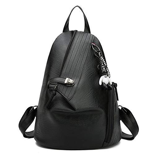CDBWHL Zaino da donna Antifurto Personalità Borsa multifunzione @ Borsa da spalla alla moda leggera nera elegante Zaino da viaggio antifurto da viaggio Zaino