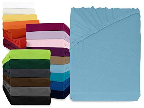 npluseins klassisches Jersey Spannbetttuch - erhältlich in 34 modernen Farben und 6 verschiedenen Größen - 100% Baumwolle, 90-100 x 200 cm, hellblau