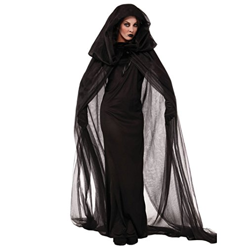 Sasairy Damen Schwarz Witch Weihnachten Party Kostüm Fancy Anime Cosplay Party Kleider EU SIZE 36-40 (Patient Fancy Dress)