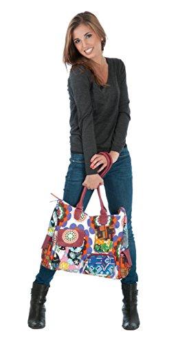 Sunsa Schultertasche, Borsa a spalla donna Größe ca. (BxHxT): 44x38x10 cm, rosso (Rosso) - 50812 rosso