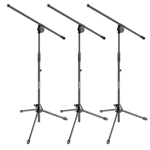 Neewer 3pz treppiedi stand di microfono con asta per utilizzo su palco o in studio – lega di alluminio, pieghevole & orientabile, altezza regolabile massima 95cm (nw006-1)