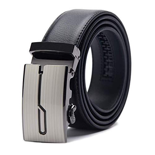 TANGCHAO Cinturón Hombre Cuero, Cinturon con Hebilla Automática Cinturones de Trinquete 35mm de Ancho Negro 1-HEI-ZD 145CM