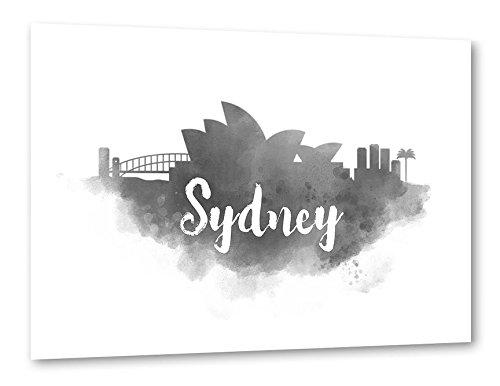 artboxone-poster-30x20-cm-stadte-stadte-sydney-watercolor-sydney-city-skyline-weiss-hochwertiger-des