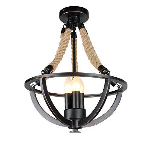 XSPWXN 3-Luces de Hierro Forjado de Época Cuerda de Cáñamo Industrial Sala de Estar Araña Retro Comedor Lámpara de Techo Lámpara de Suspensión Americana País Rústico Antiguo Suspensión de Luz