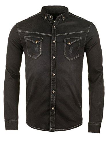 WOTEGA Herren Jeanshemd Western Shirt Toby Jeans-Hemd, Grau (Phantom 194205), XXL