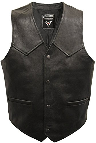Mens Real Leather Plain Motorcycle Biker Waistcoat Vest in Black