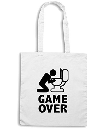 T-Shirtshock - Borsa Shopping MAT0070 Puke Game Over Maglietta Bianco