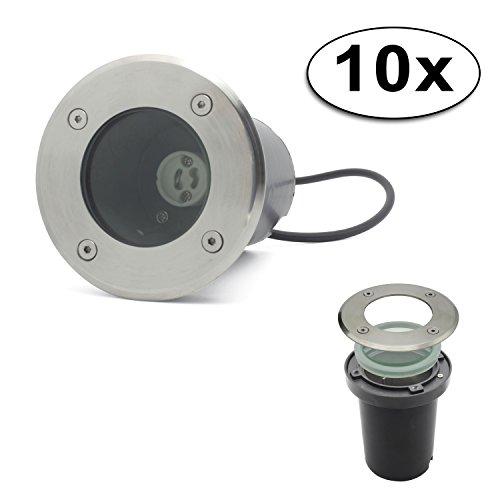 LED Bodeneinbaustrahler GU10 Strahler Leuchte Spotleuchte Durchschleifen(Rund ohne Leuchtmittel;10x Pack)
