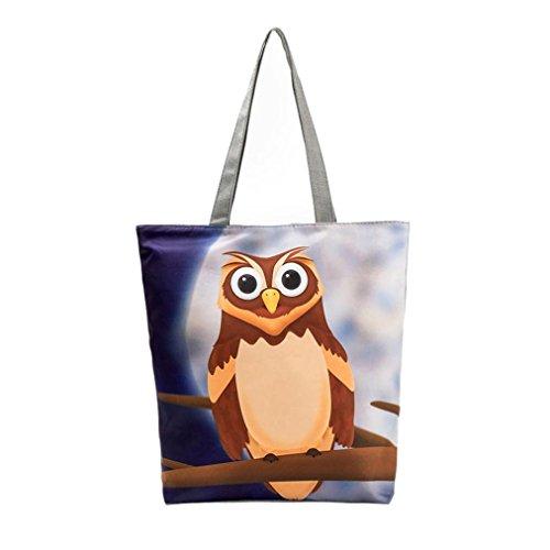 DOLDOA Eule Bedruckte Leinwand Tote Casual Beach Taschen Frauen Einkaufstasche Handtaschen (C) (Canvas Baguette)