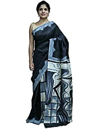Cocoon Kapas Tassar Silk Saree With Blouse Piece(Brush-Trail-11_Multi-Coloured_Free Size)