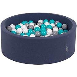 KiddyMoon 90X30cm/200 Balles ∅ 7Cm Piscine À Balles pour Bébé Rond Fabriqué en UE, Bleu Foncé: Gris/Blanc/Turquoise
