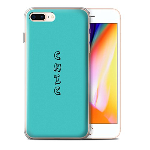 Stuff4 Gel TPU Hülle / Case für Apple iPhone 8 Plus / Blau/Chic Muster / Gekritzel Wörter Kollektion Blau/Chic