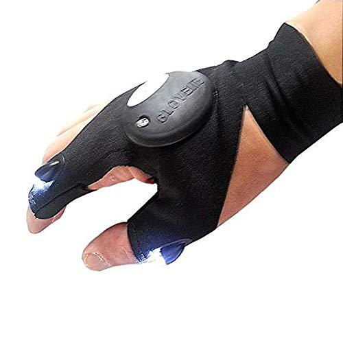 Ogquaton Kreative LED Handschuhe Taschenlampen Handschuhe für Outdoor-Aktivitäten Rettungs Angeln Camping Wandern Verwendung 1 STÜCKE Schwarz