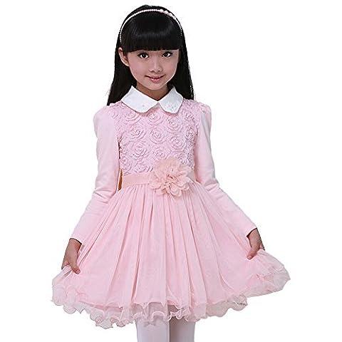 iPretty Vestido Niña Fiesta Encaje Lindo Invierno Otoño Vestido Boda Princesa Ceremonia con Manga Larga