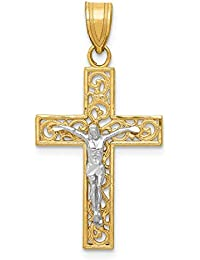 14k Yellow Gold Two Tone Small Block Filigree Cross Religious Crucifix Pendant Charm Necklace Latin Fine Jewelry For Women Gift Set