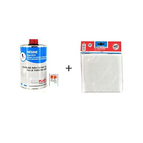 Soloplast Typ Eco Polyesterharz, 1kg, mitRoving-Glasfaser-Tuch, 300g/m²
