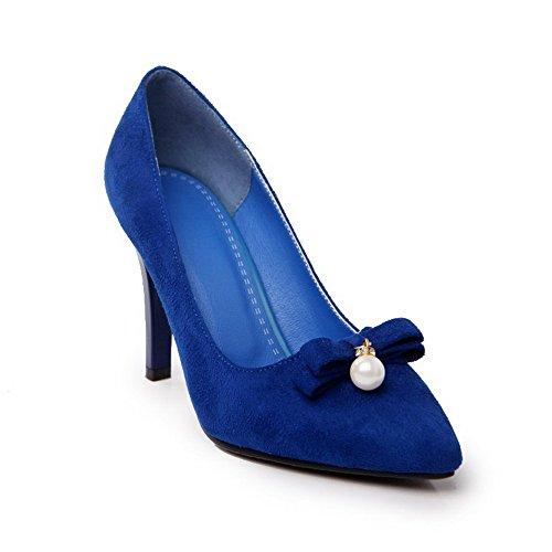 AllhqFashion Damen Spitz Zehe Ziehen Auf Nubukleder Rein Stiletto Pumps Schuhe Blau