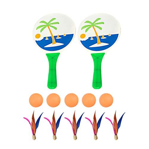 BESPORTBLE Strand Paddle Ball Spiel Badminton Tennis Pingpong Strand Cricket Holz Schläger Paddel Set Outdoor Schläger Spiel für Erwachsene Kinder