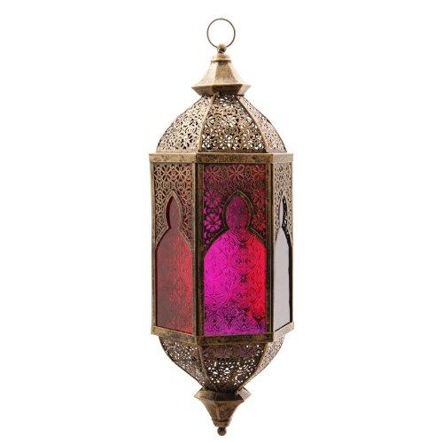 Effetto bronzo in vetro traforo stile marocchino lanterna decorazione regali PDS