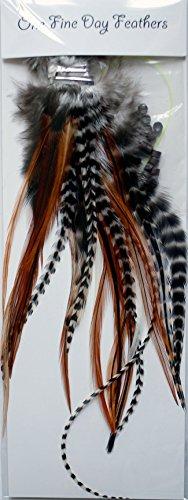 One Fine Day Feathers Assortiment de 25 extensions de cheveux en plumes véritables avec anneaux et passant Couleur naturelle