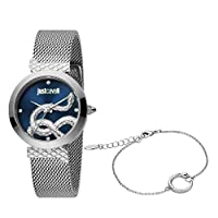 Just Cavalli Blue Dial Stainless Steel Analog Watch Bracelet Set For Women