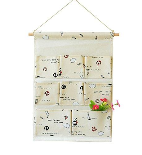 Kimjun Baumwollbeutel Wand hängenden Beutel 8 Tasche Tür zurück Aufbewahrungstasche Hängenden Tasche Organizer Mehrschicht-Aufbewahrungstasche Multifunktionale Wohnzimmer Schlafzimmer Bad Utensilo 35*50CM (Farbe 1)