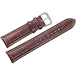 18mm Brown Grosgrain Leather Watch Straps/Bands Replacement for Mid-Range Watches with White Contrast Stitching (Spring Pins included)