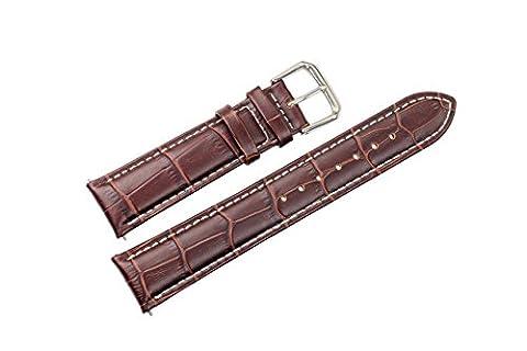 18mm marron bracelets de montres en cuir grosgrain / bandes de remplacement pour le milieu de gamme des montres de blanc coutures contrastantes (broches à ressort inclus)