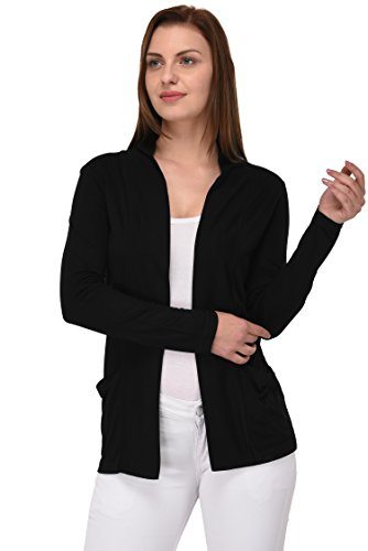 Espresso Women's Viscose Full Sleeve Shrug(Esp-3050-M_Black_Medium)