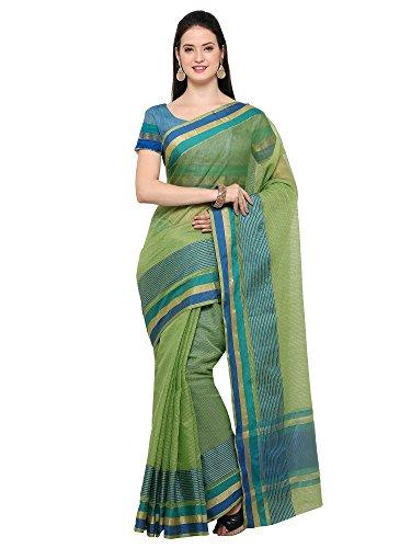 AppleCreation Women's Linen Saree With Blouse Piece (sarees new collection 2LNN215_Green)